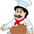 Cartoon chef with roasted meat - Stock Vector
