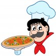 Cartoon chef with pizza - Stock Vector