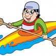 Cartoon kayaker - Stock Vector