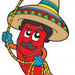 Royalty-Free Stock Vector Image: Cartoon Mexican chilli with lasso