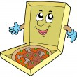 Cartoon pizza box - Stock Vector