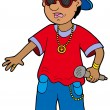 Cartoon rapper - Stock Vector