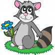 Cartoon racoon with flower — Stock Vector