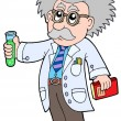 Cartoon scientist - - Stock Vector
