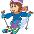 Royalty-Free Stock Vector Image: Cartoon skiing boy