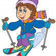 Cartoon skiing boy - Image vectorielle