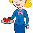 Cartoon stewardess - Stock Vector