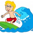 Cartoon surfer boy - Stock Vector