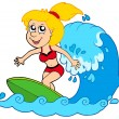 Cartoon surfer girl - Stockvectorbeeld