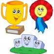 Cartoon trophies collection — Stock Vector