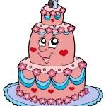 Cartoon wedding cake — Stock Vector