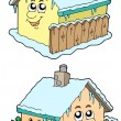 Cartoon winter houses — Stock Vector