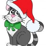 Cat in Christmas cap vector illustration — Stock Vector #2148242