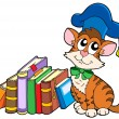 Cat teacher with books - Stock Vector