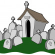 Stock Vector: Cemetery with tomb