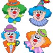 Stock Vector: Clowns head collection