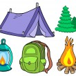 Collection of camping images — Stock Vector