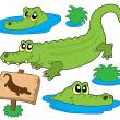 Crocodile collection — Stock Vector