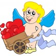 Stock Vector: Cupid with wheelbarrow