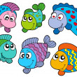Royalty-Free Stock Vector Image: Crazy fishes collection