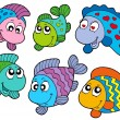 Royalty-Free Stock Imagen vectorial: Crazy fishes collection