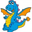 Cute blue dragon — Stockvectorbeeld