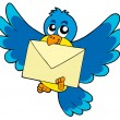 Cute bird with envelope — Stock vektor