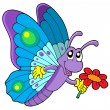 Cute butterfly holding flower — Stock Vector