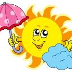 Cute cartoon Sun with umbrella — Stock Vector
