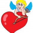 Cute cupid resting on heart — Stock Vector