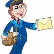 Cute postman with letter - Stock Vector