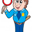 Cute policeman with stop sign — Imagen vectorial
