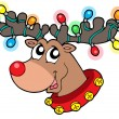 Cute reindeer in Christmas lights — Stock Vector