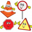 Cute road signs collection — Stock Vector