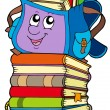 Cute school bag on pile of books — Stock Vector