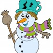 Cute snowman with scarf and broom — Stock Vector #2149544