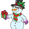 Cute snowman with gift - Stock Vector
