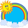 Cute Sun and rainbow - Imagen vectorial