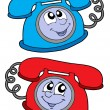 Stock Vector: Cute blue and red telephone
