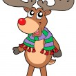 Stock Vector: Cute standing Christmas elk