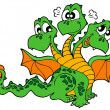 Stock Vector: Cute three headed dragon
