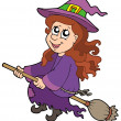 Cute witch flying on broom — Stock Vector #2149710