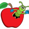 Cute worm in apple - Stock Vector