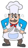 Angry chef with knife and fork — Stock Vector