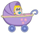 Baby in buggy vector illustration — Stock Vector