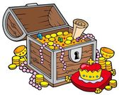 Big treasure chest — Stock Vector
