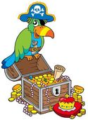 Big treasure chest with pirate parrot — Stock Vector
