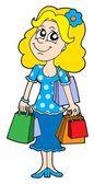 Blond winkelen meisje vectorillustratie — Stockvector