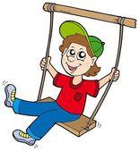 Boy on swing — Stock Vector
