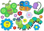 Bug and flower set — Stock Vector